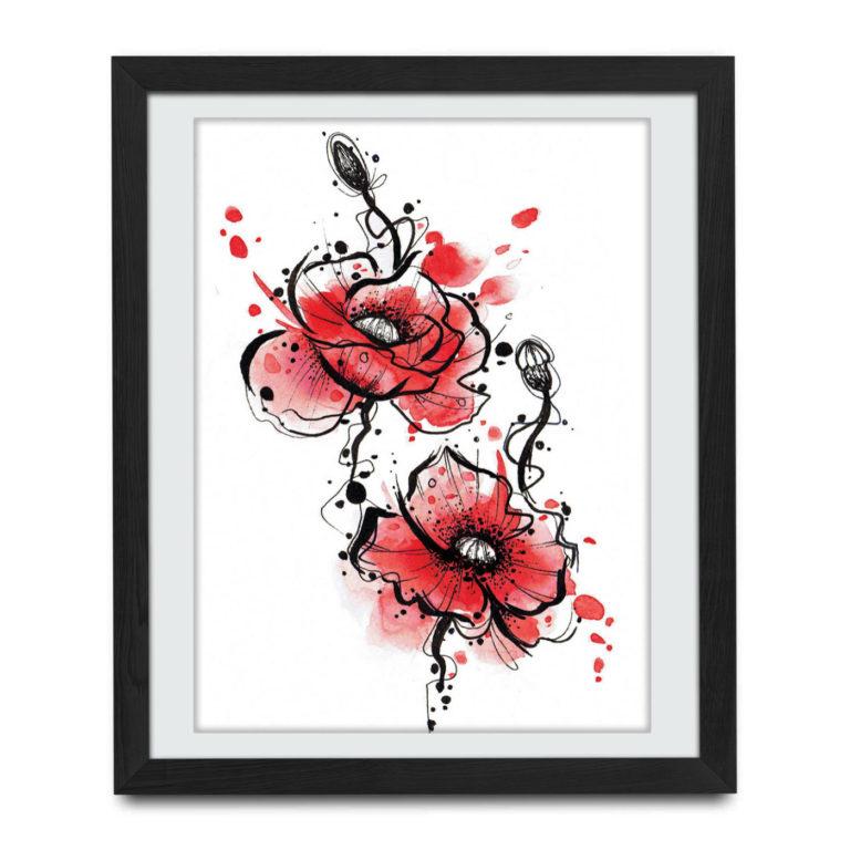 tatuaz czerwone kwiaty